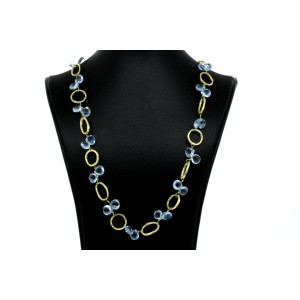 Dominique Cohen Blue Topaz Necklace 18k Yellow Gold 19""