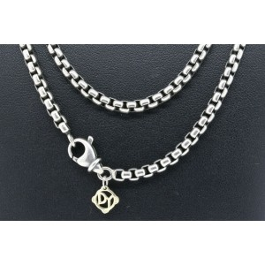 """David Yurman 32"""" Box Chain Necklace Sterling Silver 14k gold Charm DY at Clasp"""