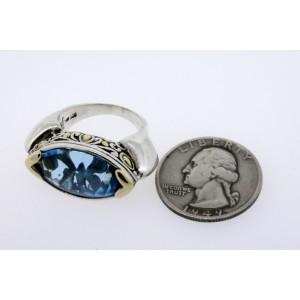 John Hardy Jaisalmer Ring Blue Topaz Sterling Silver 18k Yellow Gold size 8.25