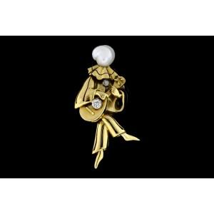 "18k Diamond Pin Brooch Court Jester Playing Guitar Banjo Ukulele Pearl Head 2"""