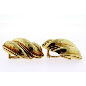 Henry Dunay Large Gold Earrings 18k Hammered Clip On Lowest Price per Gram 36.6g