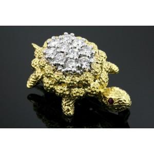 "herbert Rosenthal Turtle Brooch Pin 1ct Diamond 3D HR Rare 11.4g 1.25"""