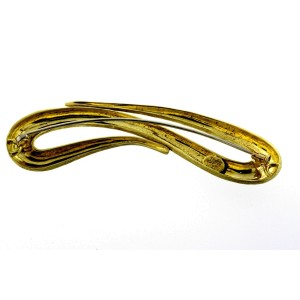 """Henry Dunay Large Pin Brooch 18k Yellow Gold Free Form 3.25"""" 27.6g Heavy"""