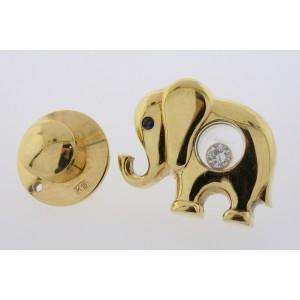 Chopard Happy Diamond Tie Tack Tac Lapel Pin Elephant Sapphire Eye 18k Gold