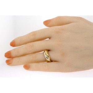 Les Must De Cartier Trinity Band Ring 18k Yellow White Rose Gold sz 56 US 7.5