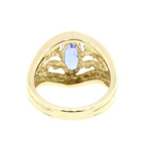 Levian Ring Marquise Tanzanite 14k Yellow Gold Vintage size 6 Open Scroll Design