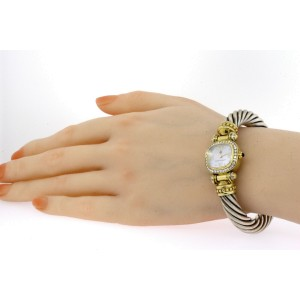 David Yurman Watch Bangle Bracelet 14k Gold Diamond Sterling Mother Pearl Dial