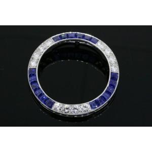 Tiffany & Co. Diamond Sapphire Pendant Circle Platinum Vintage Rare