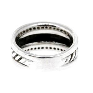 David Yurman Diamond Ring Band Cable Cigar Thoroughbred Sterling Silver size 6