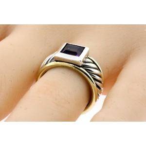 David Yurman Amethyst Ring Band 14k Gold Sterling Silver Princess Cable sz 5