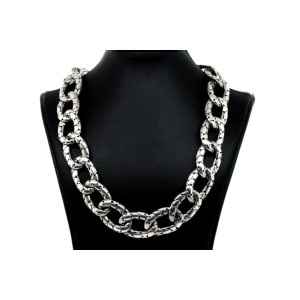 """John Hardy Necklace Kali Pebble Curb Chain Sterling Silver Toggle Clasp 17"""""""
