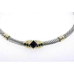 "David Yurman Renaissance Necklace Choker Collar Amethyst Green Chalcedony 15"""