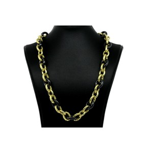 David Yurman Necklace Oval Link Chain Black Ceramic 18k Yellow Gold 13mm 18""