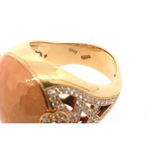 Pasquale Bruni C Est Moi 18k Gold Diamond Ring size 7 Pink Iridescent Enamel