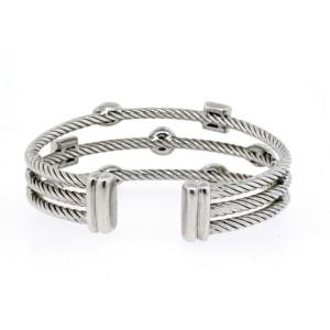 David Yurman Narrow Confetti Diamond Bracelet Sterling Silver 3 Row Cuff