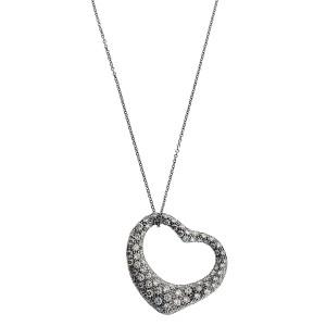 Tiffany & Co Elsa Peretti large diamond open heart Necklace in platinum