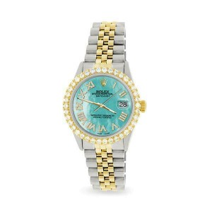 Rolex Datejust 36mm 2-Tone WATCH with 3.10ct Diamond Bezel/Aquamarine Blue Dial
