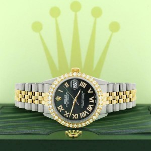 Rolex Datejust 36mm 2-Tone WATCH /3.10ct Diamond Bezel/Black MOP Diamond Dial