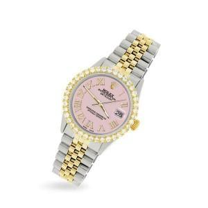 Rolex Datejust 36mm 2-Tone WATCH/3.10ct Diamond Bezel/Orchid Pink Roman Dial