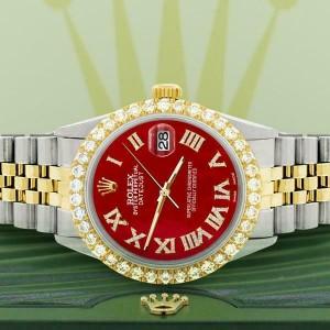 Rolex Datejust 36mm 2-Tone WATCH/3.10ct Diamond Bezel/Red MOP Roman Dial