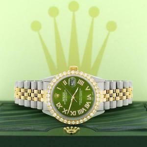 Rolex Datejust 36mm 2-Tone WATCH/3.10ct Diamond Bezel/Royal Green MOP Roman Dial
