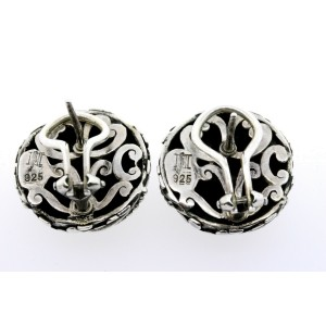 John Hardy Kali Pebble Dot Stud Earrings Button Sterling Silver Omega Back