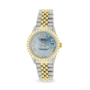 Rolex Datejust 36mm 2-Tone WATCH/3.10ct Diamond Bezel/Sky Blue MOP Roman Dial