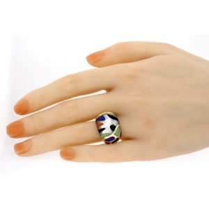 Asch Grossbardt Ring14k Yellow Gold Diamond Multi Gemstone Inlay 6.5 Dome Style