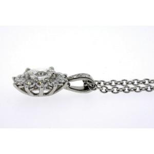 "Tiffany & Co. Pendant .95ctw Oval Diamond Flower Cluster Platinum 16"" Chain $10k"