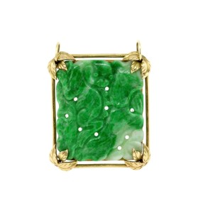 Ming's Carved Jade Pendant 14k Gold Hawaii Vintage Top Green Color WOW