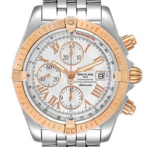 Breitling Chronomat Evolution Steel Rose Gold Mens Watch C13356 Papers
