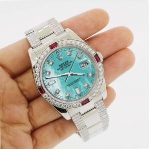 Rolex Datejust116200 Steel 36mm Watch w/4.5Ct Diamond Bezel Aquamarine Blue Dial
