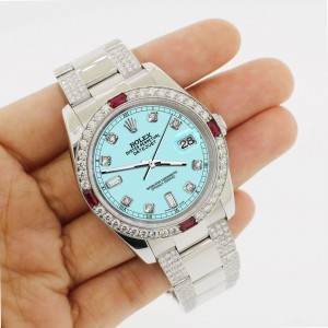 Rolex Datejust 116200 Steel 36mm Watch w/4.5Ct Diamond Bezel Aqua Blue Dial