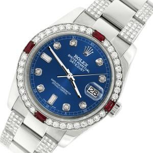 Rolex Datejust 116200 Steel 36mm Watch with 4.5Ct Diamond Bezel Cobalt Blue Dial