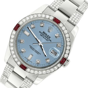 Rolex Datejust 116200 Steel 36mm Watch with 4.5Ct Diamond Bezel Ice Blue Dial