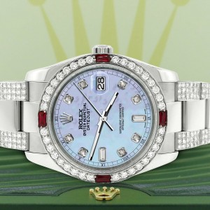 Rolex Datejust 116200 Steel 36mm Watch with 4.5Ct Diamond Bezel Purple MOP Dial