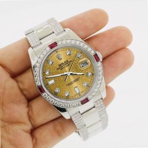 Rolex Datejust 116200 Steel 36mm Watch w/4.5Ct Diamond Bezel Champagne Dial