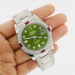 Rolex Datejust 116200 Steel 36mm Watch w/4.5Ct Diamond Bezel Royal Green Dial