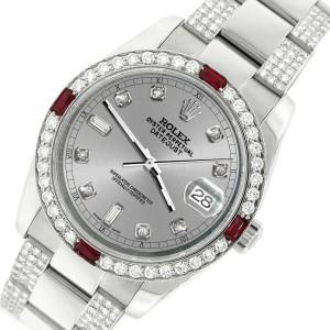 Rolex Datejust 116200 Steel 36mm Watch with 4.5Ct Diamond Bezel Silver Dial