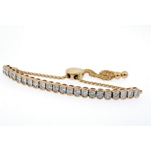 Bolo Diamond Bracelet 14k Rose Gold .88ct Semi Bezel Set Adjustable