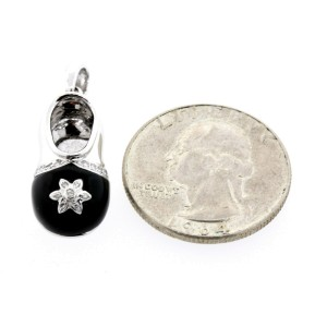 Shoe Charm Diamond Pendant Black Enamel Flower 18k White Gold Slipper Slip On