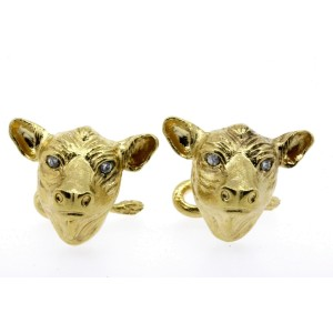 Bull Cattle Bovine Diamond Cufflinks 18k Yellow Gold Heavy 25.6g Stock Market