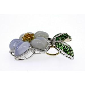 Kanaris Earring Pendant Set 18k White Gold Diamond Tsavorite Citrine Flower