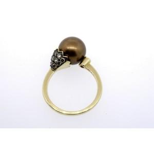 Levian Chocolate Pearl Diamond Ring 14k Yellow Gold size 7.25