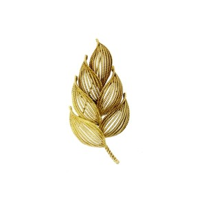 "Tiffany & Co. Brooch Pin Leaf Bushel Flower Leaves 18k Gold Italy Vintage 2.5"""