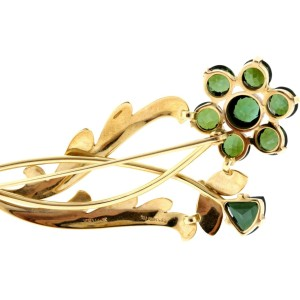 Tiffany & Co. Green Tourmaline Brooch Pin 14k Yellow Gold Flower Floral