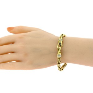 "David Yurman 18k Yellow Gold Bracelet Wheat Chain Link 7.75"" 6mm"