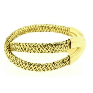 Roberto Coin Cuff Bracelet Criss Cross Primavera Double Bypass 18k Yellow Gold