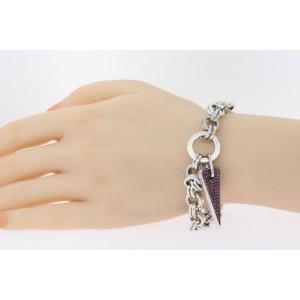 "Pianegonda Franco Ruby Heart Pave Charm Bracelet Sterling Silver Chain Link 8"""