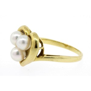 Mikimoto Heart 3 Pearl Ring 18k Gold size 5